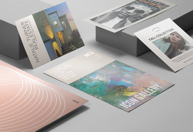 5 full-color pearlescent flyers with a metallic finish in various designs on a gray background