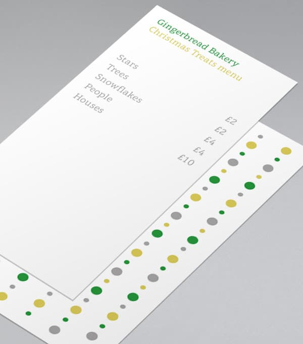 Bauble. Bead. Bauble. Menu Design