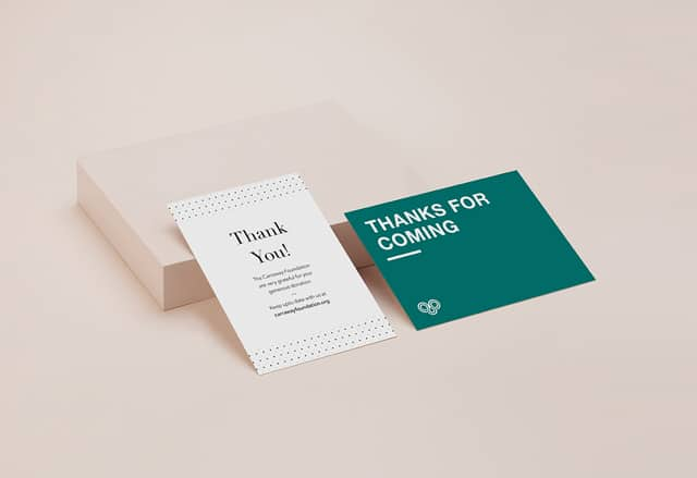 2 Thank You Postcards on beige background