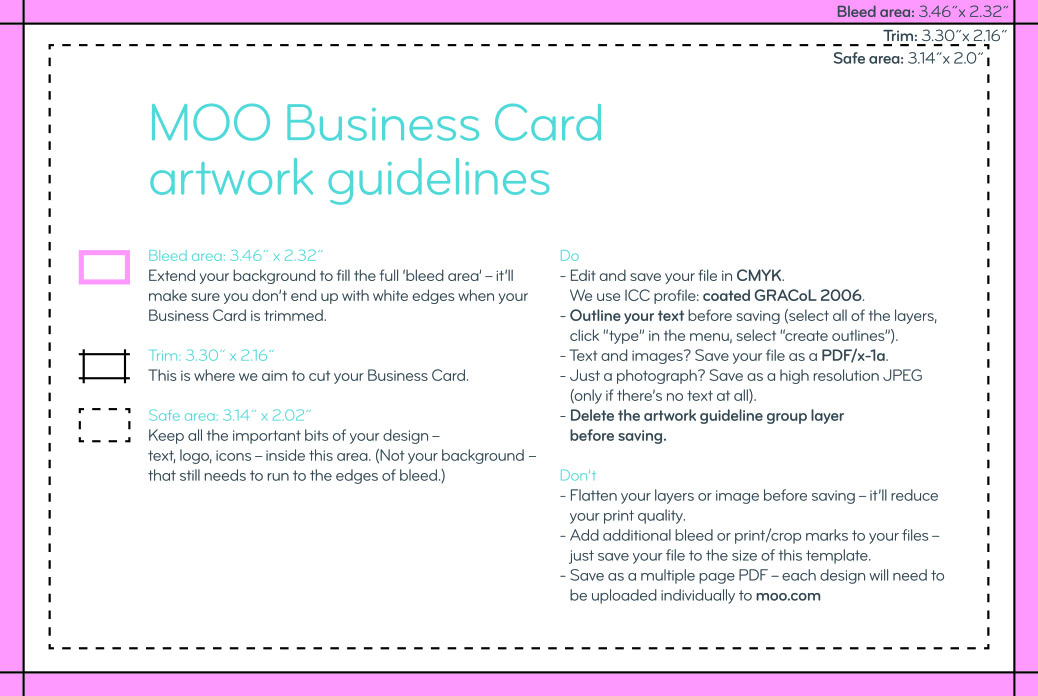 Business card size guidelines artwork templates moo jpeg colourmoves