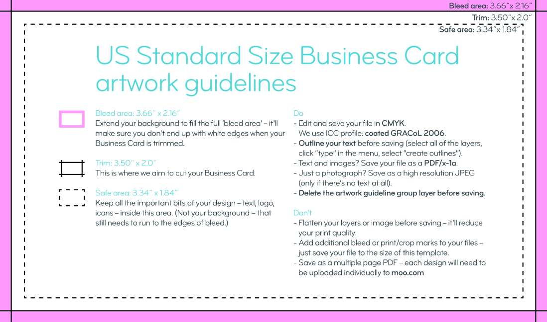 Business card size guidelines artwork templates moo jpeg reheart