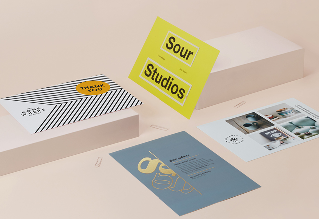 4 A5 postcards with full-colour designs and special finishes on a cream-coloured background with paperclips