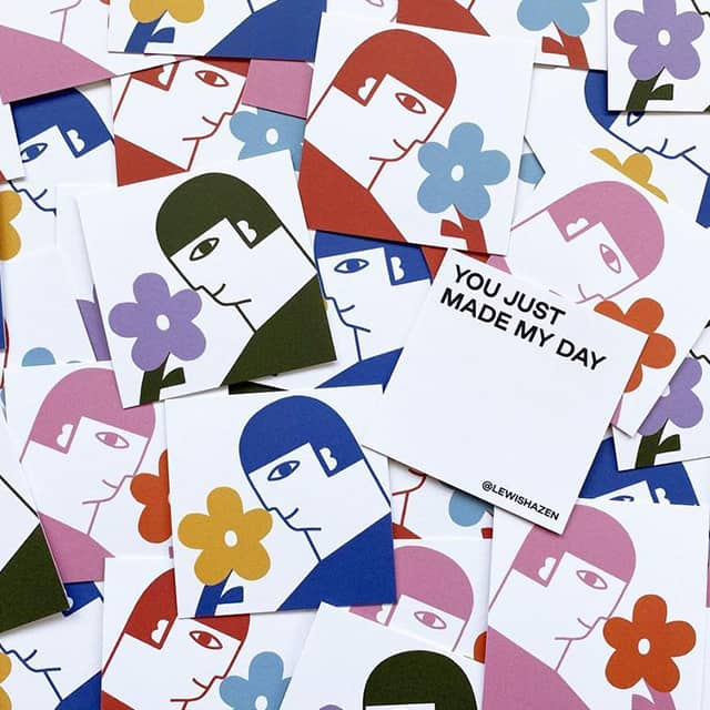 You Just Made My Day square postcards with illustrated character and flower by Lewis Hazen