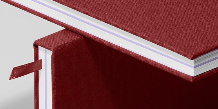 Notebook, Hardcover, Wine Red/Lavender