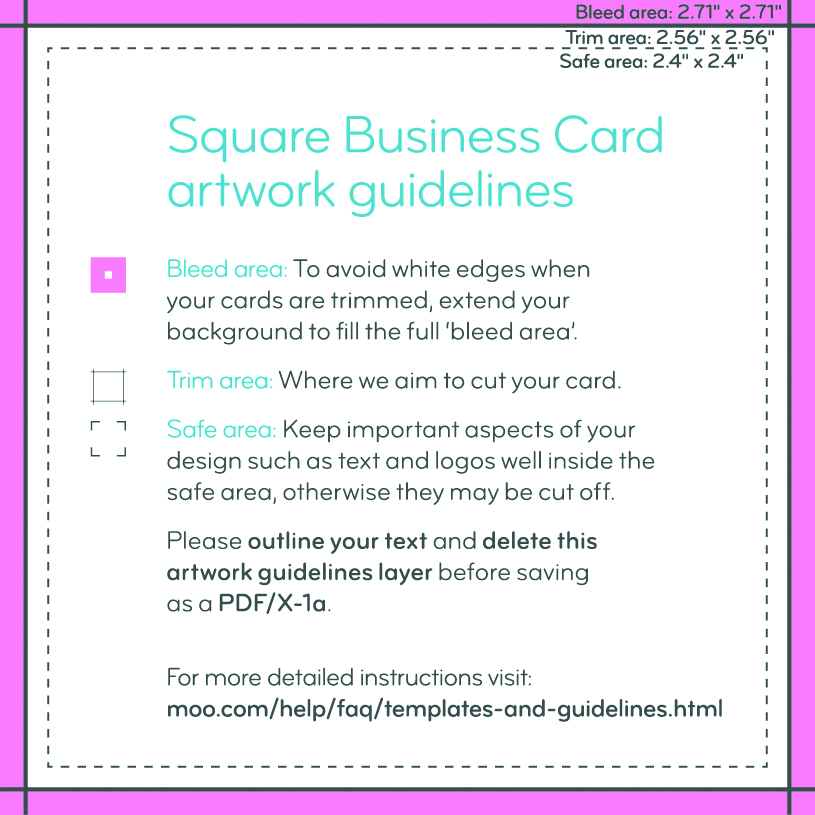 Business Card Size Guidelines Artwork Templates MOO - Business card size template