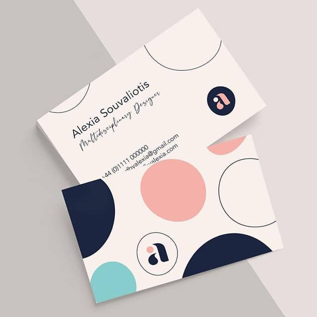 2 business cards with dot pattern by Designed by Alexia