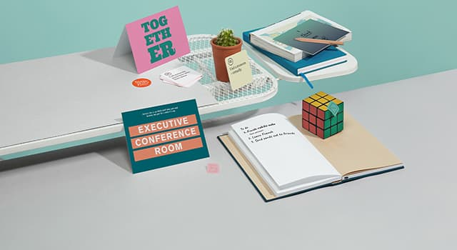Collection of personalised stationery including Postcards, Letterhead, Stickers, Envelopes and Notebooks
