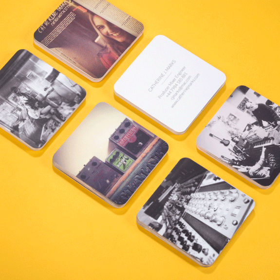 Moos picks rounded corner square business cards moo blog music fans will love catherines cards a music engineer whose career includes working with bands like editors interpol foals mia and mr hudson reheart Image collections
