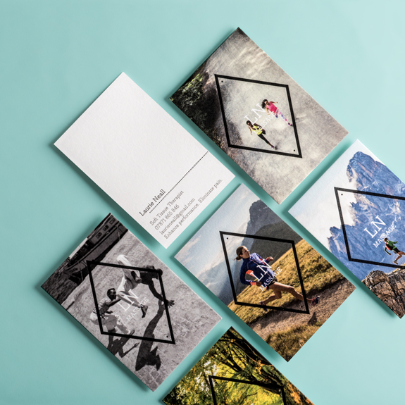 New moo letterpress business cards moo blog first up lauries diamond stamp designs we love the way hes used our four sided shape to frame these eye catching sports images and were sure his colourmoves