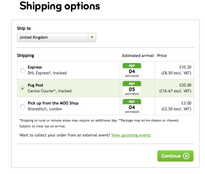Shipping Options - featuring Canine Couriers