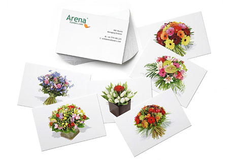 Arena Flowers highlight it's different arrangementsusing MOO Business Cards
