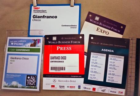 Postcard conference badges