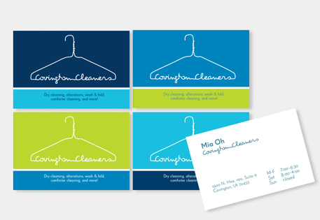 Covington Cleaners used a bright colour palette and a modern design to make their MOO Business Cards stand out from the crowd