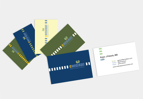 Emedikon use MOO Business Cards to create a clean and professional look with a different back on each card