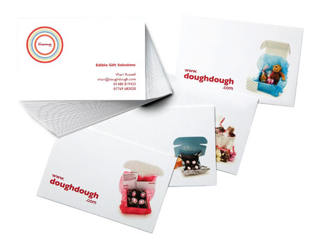 using Printfinity, DoughDough use MOO Business Cards to showcase their amazing products