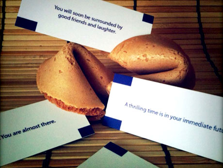 Jeannie hides MOO MiniCards in Fortune Cookies