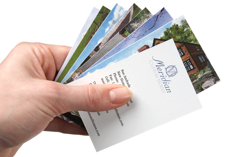 Meridian Homes use Printfinity to showcase their house designs on MOO Business Cards