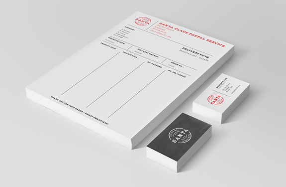 Announcing santas business card winner moo blog bringing the business to business cards complete with branded invoice sheets reheart Choice Image