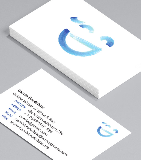 Business Card designs - Emoticons – Blue