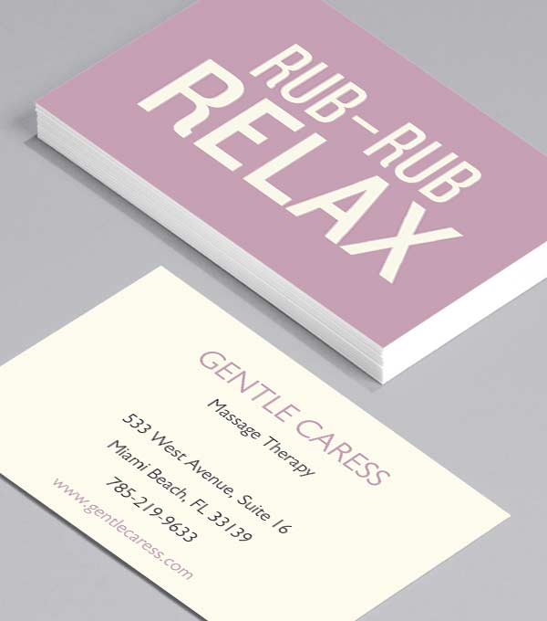 Business Card designs - Rub Rub Relax