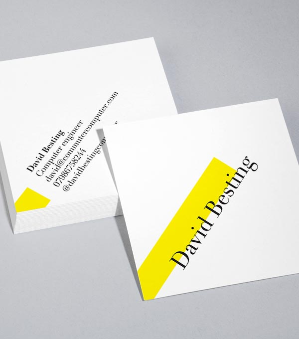 square business card designs on a tilt