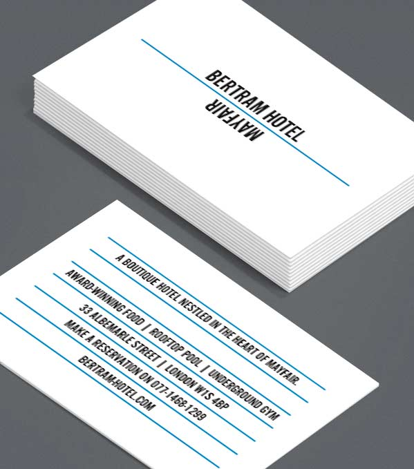 Business Card designs - Bertram Hotel Promo