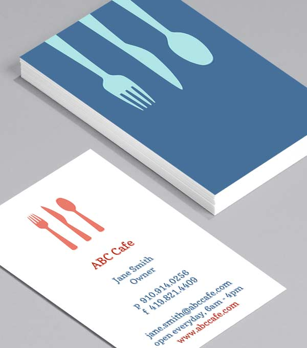 Business Card designs - Café Utensils