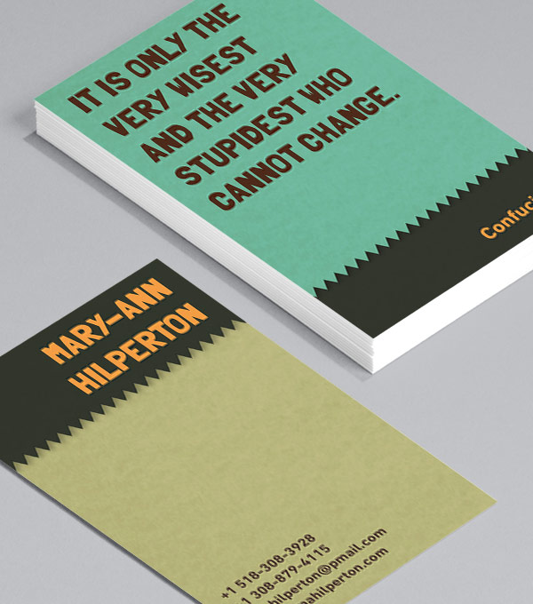 Business Card designs - Wise words