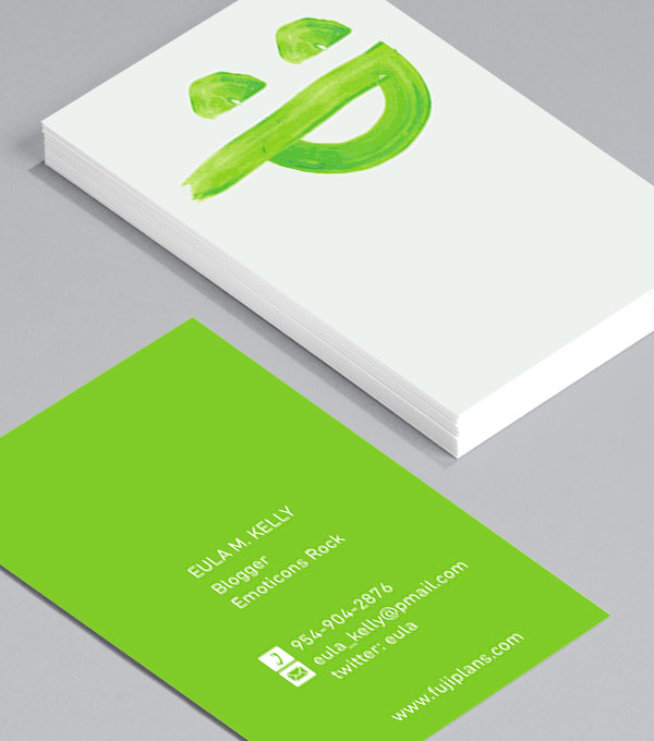 Business Card designs - Emoticons – Green