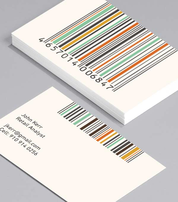 Business Card designs - Barcodes in Colour