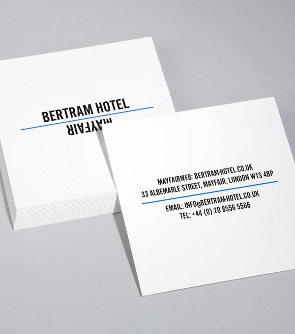 Square Business Card designs - Bertram Hotel
