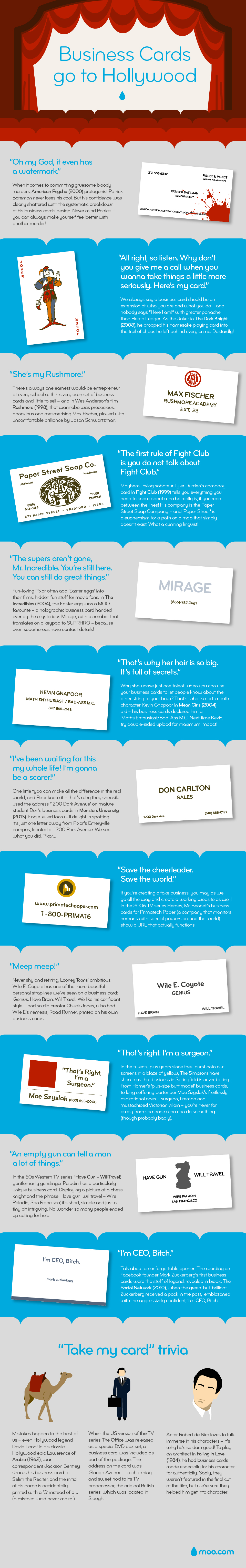 Hollywood Movie Business Cards